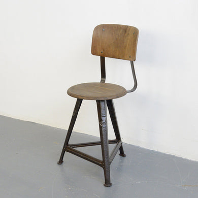 Industrial Factory Chair By Rowac Circa 1920s