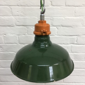 Vintage Industrial Wardle Green Enamel Factory Lights