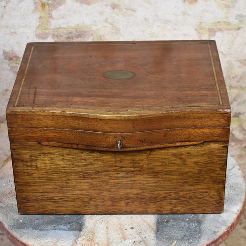 Antique Oak Inlaid Marquetry Box Travel Storage Curved Front