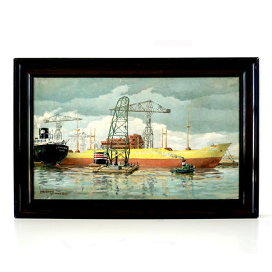 Mid Century Oil Painting 1950s Japanese Industrial Nautical Scene 'Yokohama Port With Yellow Ship'