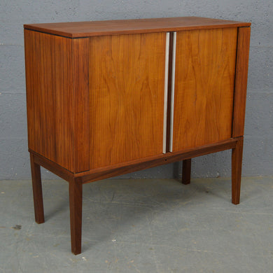 Mid Century Teak TV Cabinet With Tambour Doors