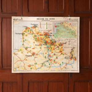 Double Sided Vintage Map of Northern France