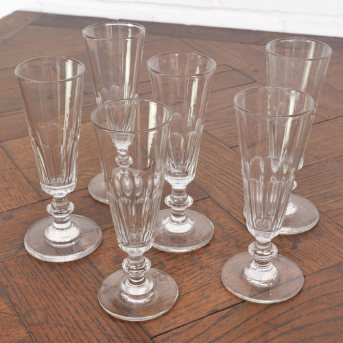 Set of 6 Antique French Champagne Flutes