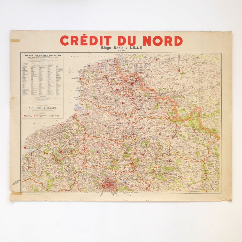 Vintage French Map - Credit de Nord