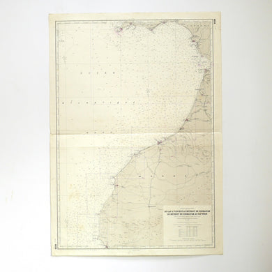 Vintage Nautical Chart - Bottom of the Strait of Gibraltar