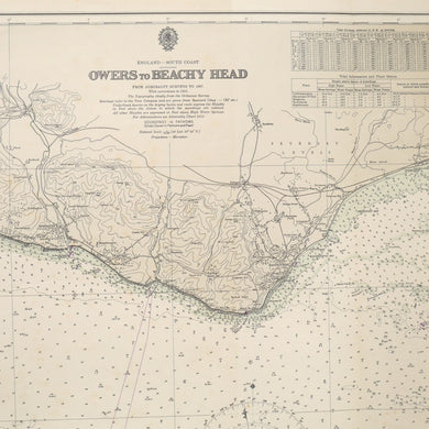 Vintage Nautical Chart - Owers to Beachy Head