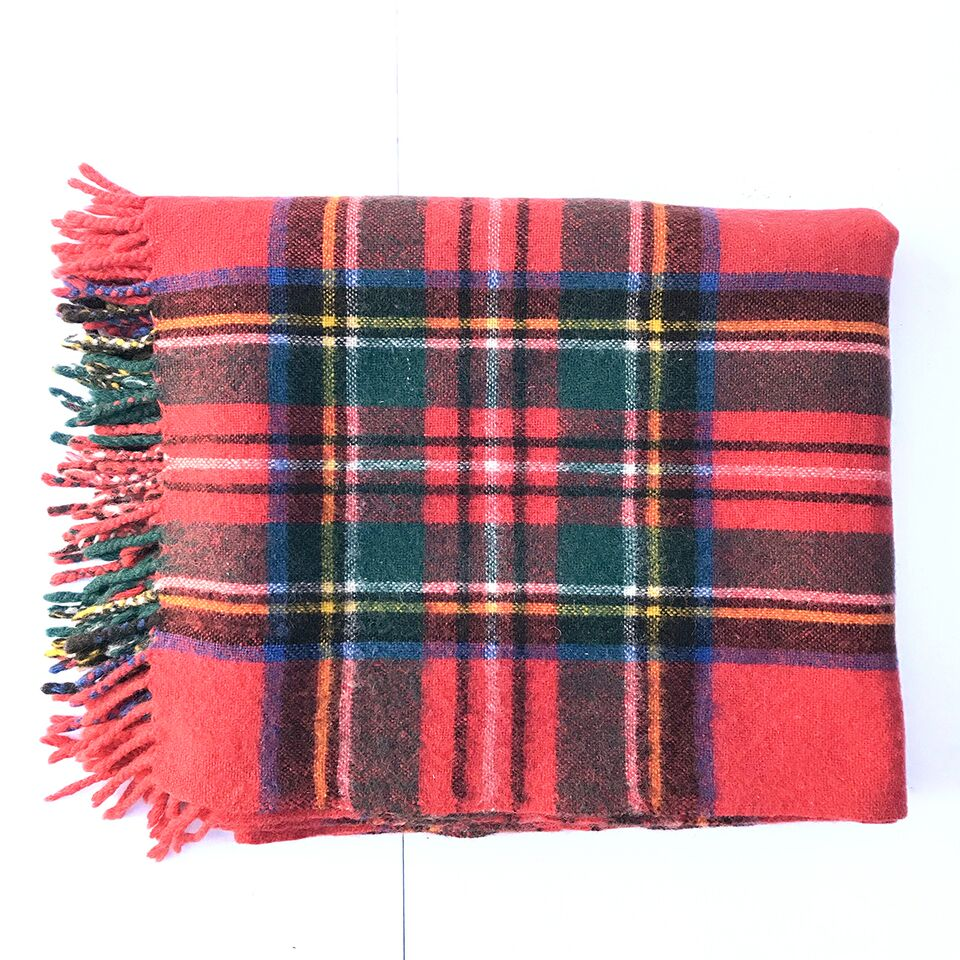Vintage Woollen Blanket - George L Hunt Red Tartan