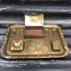 Mid Century Desk Top Brass Tray & Accessories