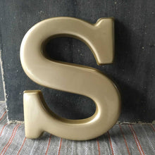 Load image into Gallery viewer, 1970s Retro Gold Plastic Letter - S