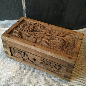 Wooden Carved Box Oriental Pattern
