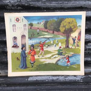 1950s School Chart - #52 - Shooting, Fowling & Fishing C15th