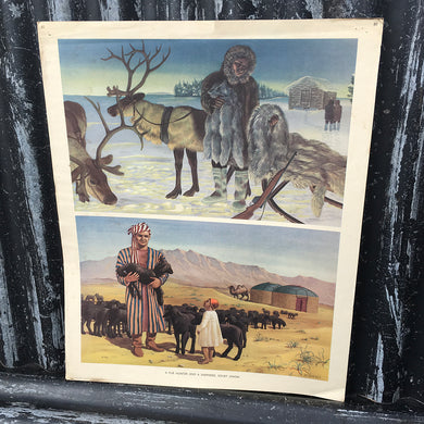 1950s School Chart - #80 - Fur Hunter & Shepherd Soviet Union