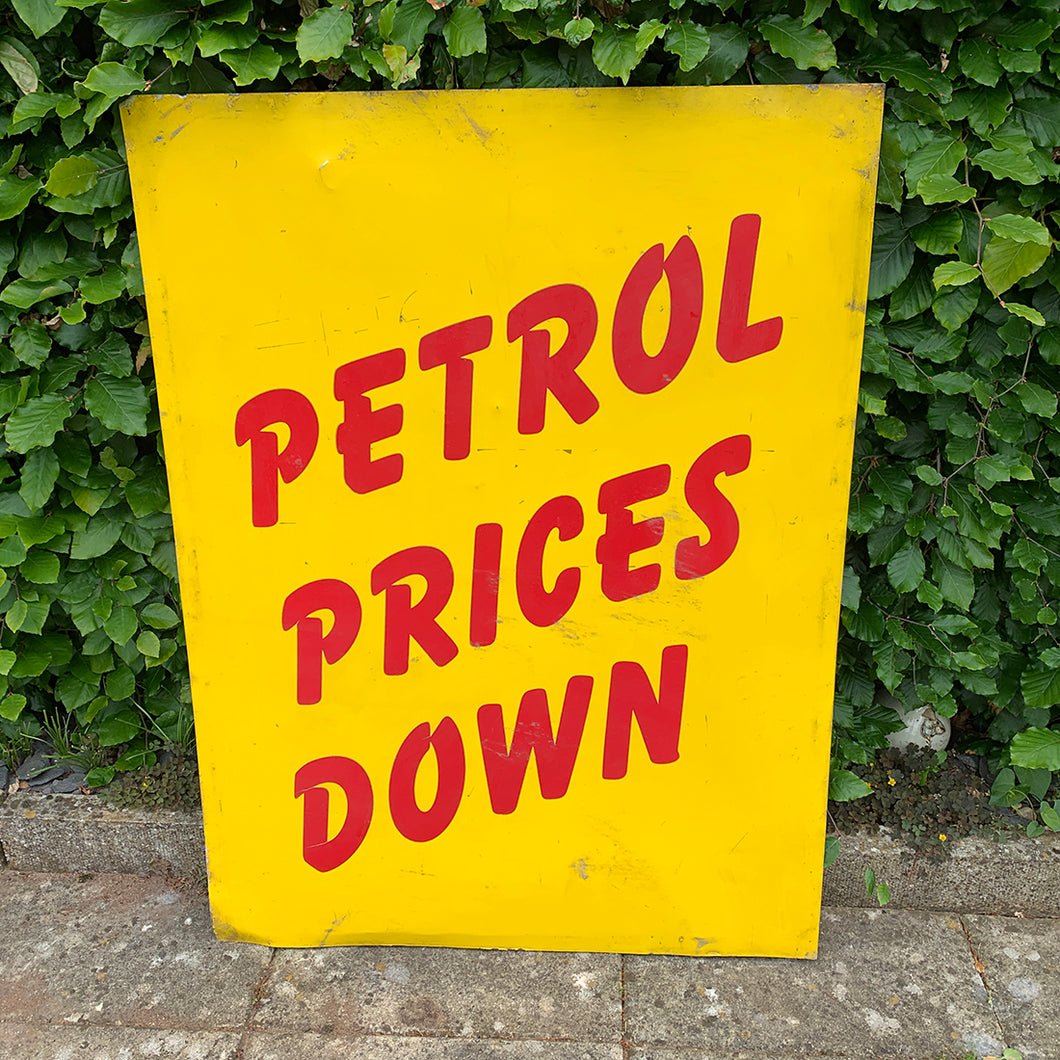Petrol Prices Down Metal Sign