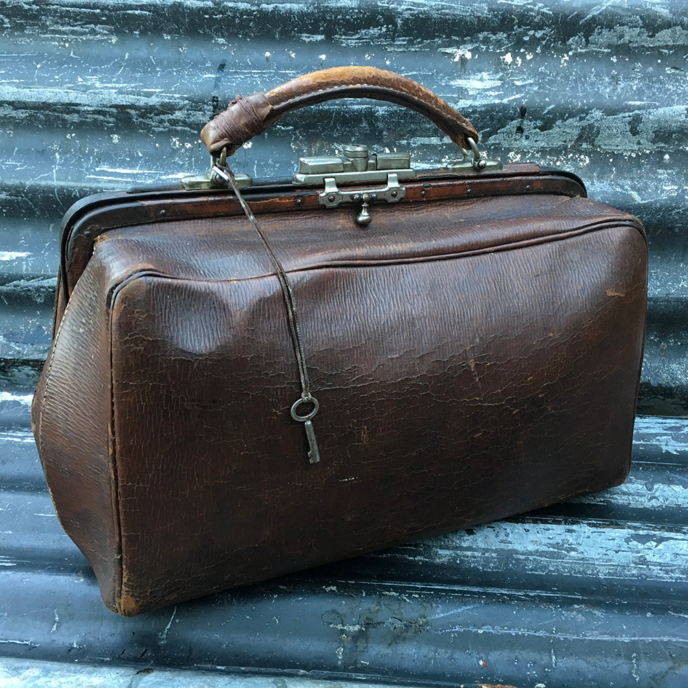 Vintage Original Moroccan Leather Gladstone Bag