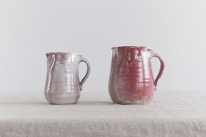 Vintage Pair of Small Burgundy and Grey Stoneware Pottery Jugs