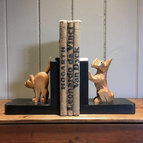 Vintage terrier and cat bookends