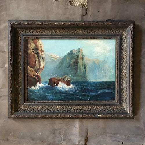 Antique oil painting - coastal scene