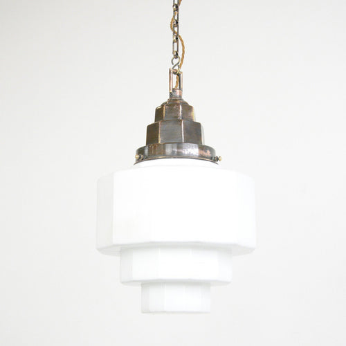 Large Art Deco Opaline Pendant Light Circa 1920s