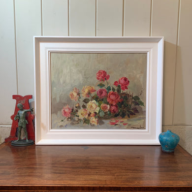 Basket of Roses Oil on Canvas