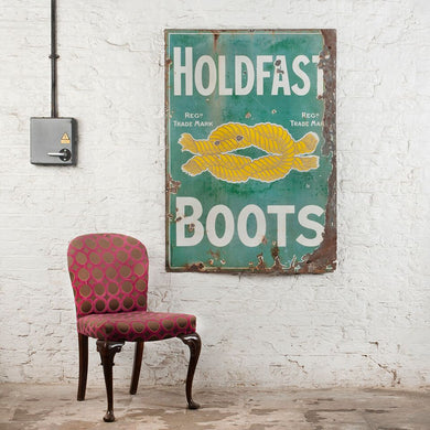 Large Vintage Charmingly Worn 'Holdfast Boots' Enamel Sign