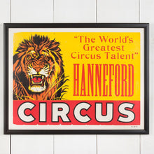 Load image into Gallery viewer, Large Framed American Circus Poster - Lion - Hanneford