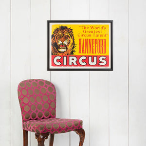 Large Framed American Circus Poster - Lion - Hanneford