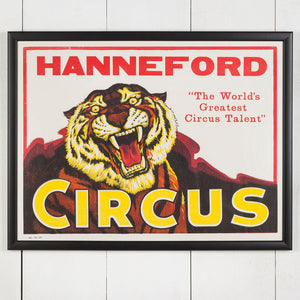 Large Framed American Circus Poster - Tiger - Hanneford