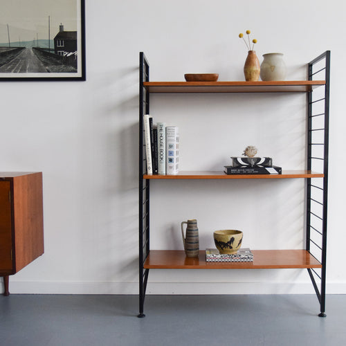 Vintage Small Black Metal Framed Ladderax Shelving Unit / Bookcase with Three Teak Shelves