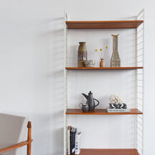 Load image into Gallery viewer, Vintage White Metal Framed Ladderax Shelving Unit / Bookcase with Teak Shelves