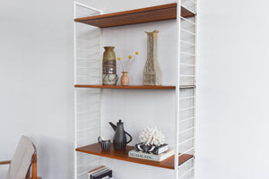 Vintage White Metal Framed Ladderax Shelving Unit / Bookcase with Teak Shelves