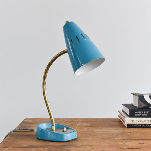 Vintage Small Blue Pifco Adjustable Goose Neck Desk Lamp Model No. 971