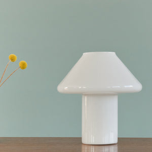 Vintage 1970s Small White Glass Mushroom Lamp by Hala Zeist