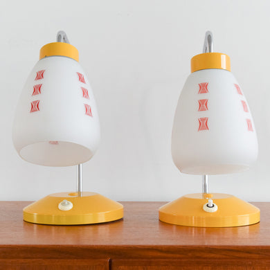 Vintage Pair of Small Czech Yellow Table Lamps with Milk Glass Shades by Josef Hurka for Lidokov