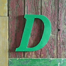 Load image into Gallery viewer, Large Green Vintage Wooden Letter - D