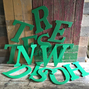 Large Green Vintage Wooden Letter - D