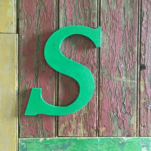 Large Green Vintage Wooden Letter - S