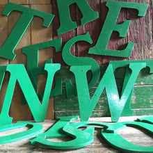 Load image into Gallery viewer, Large Green Vintage Wooden Letter - T