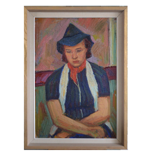 Large Portrait, 1938, 'Girl in a Blue Hat' Bertil Järnstedt