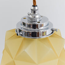 Load image into Gallery viewer, Vintage Art Deco 1930s Yellow Glass Pendant Light with Chrome Fitting