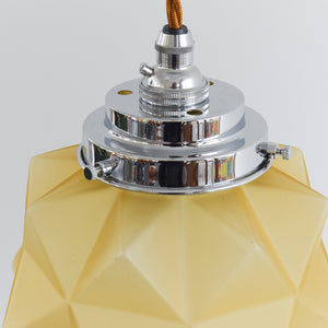 Vintage Art Deco 1930s Yellow Glass Pendant Light with Chrome Fitting