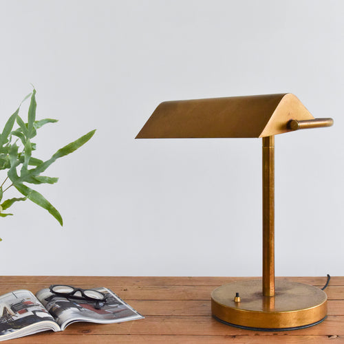 Vintage Brass Banker's Desk Lamp