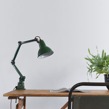 Load image into Gallery viewer, Vintage EDL Green Workbench Task Lamp with 3 Arms
