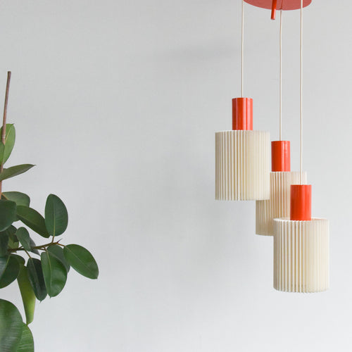 Vintage 1960s Orange Metal Pendant Adjustable Chandelier with Three Pleated Off White Shades