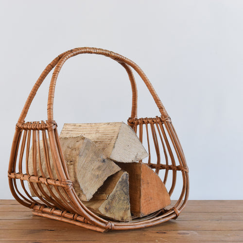 Vintage Small Rustic Wicker Log Basket