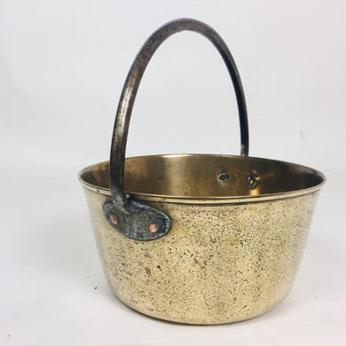 Vintage Brass Cauldron With A Iron Handle