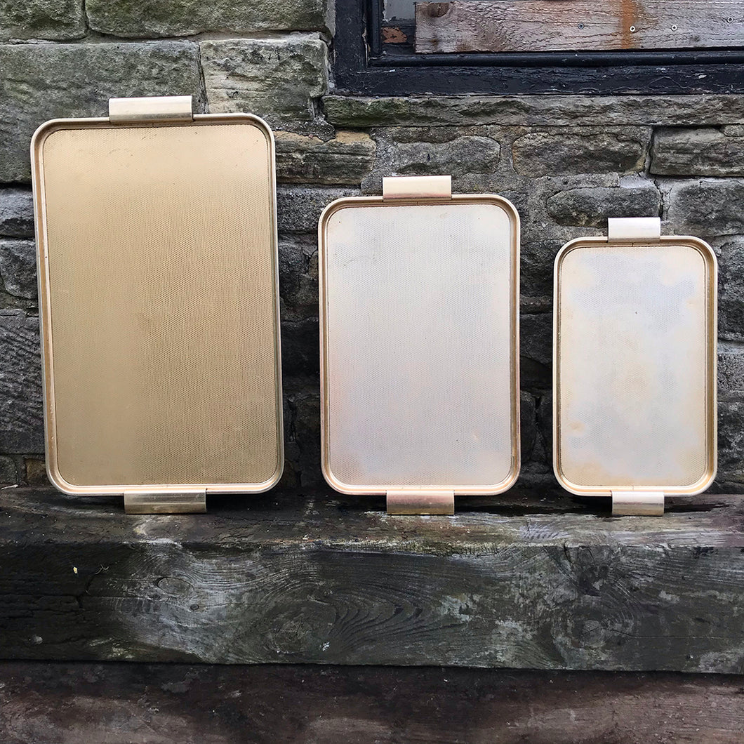 Set of 1950s Vintage 'Woodmet' Aluminium Serving Trays