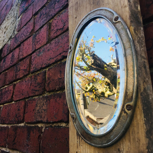 Vintage Metal Oval Industrial Small Mirror #5