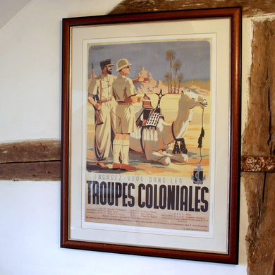Vintage French Troupes Coloniales Framed Poster