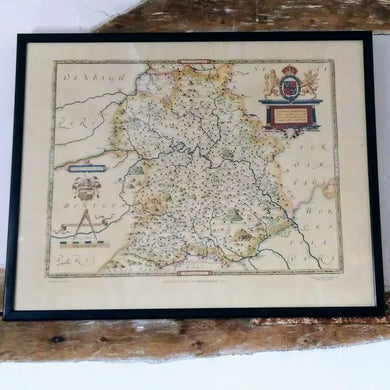 Vintage British Museum Framed Reprint - Saxon's Map of Shropshire