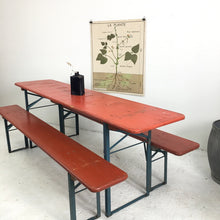 Load image into Gallery viewer, Vintage Orange German Beer Hall Table and Bench Patio Set